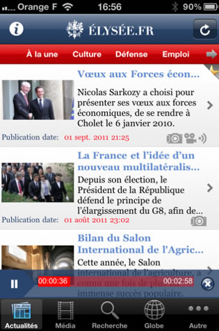 The Élysée has its own iPhone/iPad app