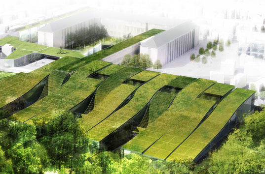 Green-roofed high school in France