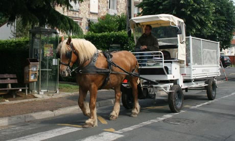 French towns go green with horse-drawn carts for trash collection