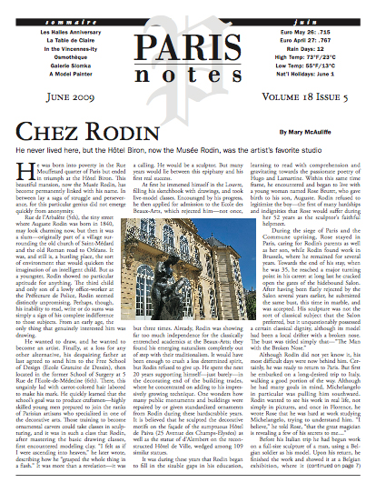 """Paris Notes"" back issues"